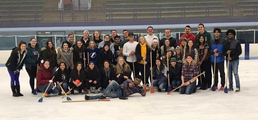 Peer Mentoring Group Photo Playing Broomball